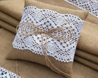 Burlap Ring Bearer Pillow with White Cotton Lace, Rustic Wedding Hessian ring cushion