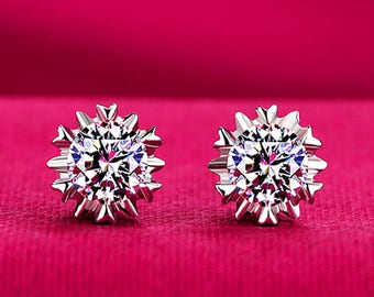 Silver hypoallergenic earrings upscale 3A crystal snowflake earrings new jewelry Free Shipping