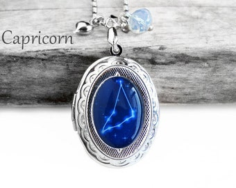 """Get 15% OFF - Handmade Resin """"Capricorn"""" Constellation Sign Silver Oval Locket Pendant Necklace - Mother's Day SALE 2018"""