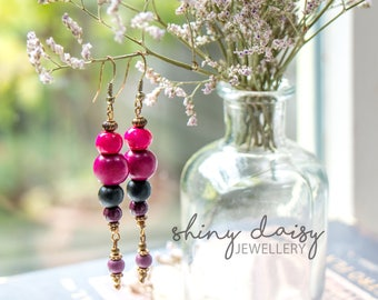Bright handmade earrings with wooden beads