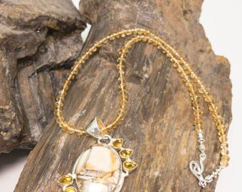 Citrine and sterling Silver Pendant Necklace