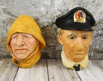 Bosson Fisherman and Sea Captain Chalkware Heads