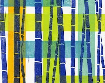 "LINO PRINT - Bamboo Pattern 15 - Modern Abstract Print 6""x6"" - Ready to Ship"