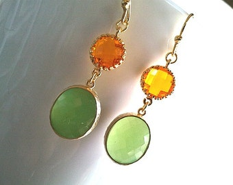 Carnelian with Peridot Opal Gold,Drop, Dangle, Earrings,bridesmaid gifts,Wedding jewelry