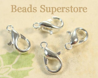 10 mm Silver-Plated Alloy Lobster Claw Clasp - Nickel Free, Lead Free and Cadmium Free - 20 pcs