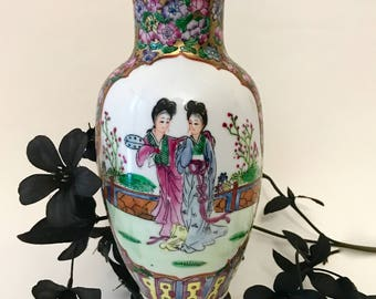 Chinese famille rose porcelain vase hand painted Geisha floral garden scene with birds hallmarked signed