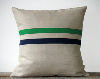 Emerald Green and Navy Striped Pillow - 16x16 - Modern Home Decor by JillianReneDecor - Colorful Colorblock Stripes - Kelly Green