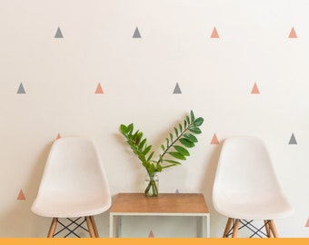 Party Grey And Pink Triangle | Patterns Shapes Kids Nursery Decor | Removable Wall Decal Sticker | MS309PC