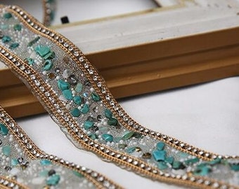 Beaded turquoise, gold and silver Lace Ribbons