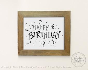 Happy Birthday Printable Decor, DIY Birthday Art, Print and Cut, Birthday Party, Birthday Decoration, Confetti Party Streamers Birthday Sign