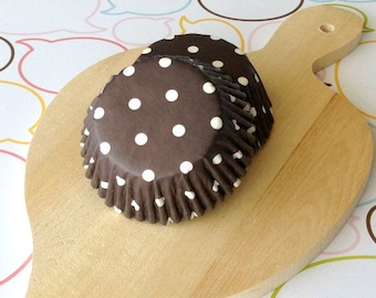 SALE - Dark Brown/White Polka Dots Standard Cupcake Liners
