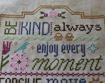Three Little Words Finished Completed Cross Stitch  - Design from Lizzie Kate - Inspirational