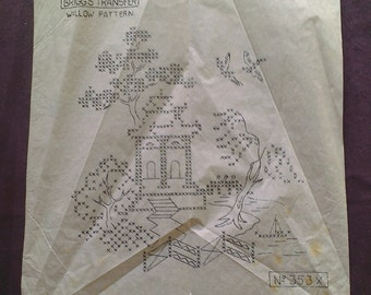 Willow Pattern Cross Stitch Panel - Briggs Transfer 353X - Vintage 1950's Embroidery Iron On Transfer Sheet