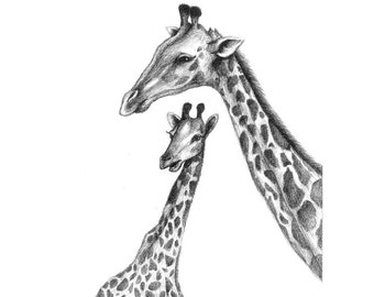 8x10 Print Mother and Baby Giraffe Pencil Illustration