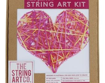 String Art Kit: Love Heart, Beginner, Pink Multi-coloured, Craft Gift, DIY Craft Kit, String Art Gift, Gift Kit, Teen Gift,