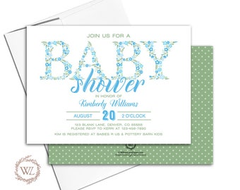 Floral baby shower invitation for a boy baby shower invites, blue and green, printable or printed - WLP00703