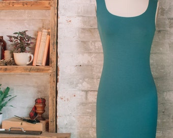 SALE Lola- Bamboo Midi Dress - teal dress - long tank dress - long bodycon dress - teal blue layering dress - bamboo clothing - eco fashion