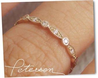 Yellow Gold Art Deco Wedding Band, Rose Gold Vintage Wedding Band, Milgrain Wedding Ring Diamond Wedding Band, Vintage Diamond Ring in  gold