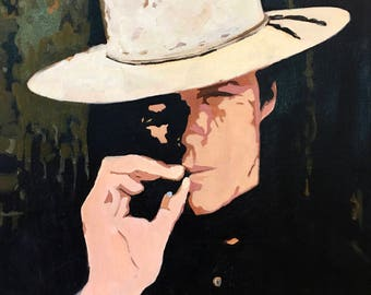 "Clint Eastwood in his iconic western role ""Hang 'em High"" Oil Painting - Pop Art, Modern Art, Western Art, Wall Decor, Wall art"