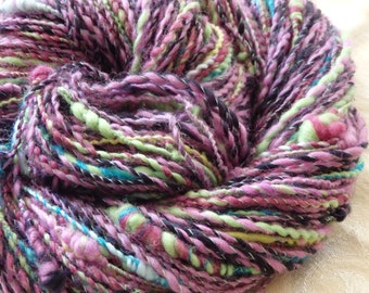 Tangles in Wonderland handspun merino sport weight yarn, 125 yards with knots and curls