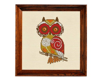 Vintage cross stitch owl hand embroidery pattern owl pdf flying barn modern needlepoint folk art chart easy counted cross stitch deisgn owls