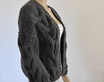 Dark Gray Oversized Knit Cardigan Chunky Knit Bomber Jacket Hand Knitted Coat