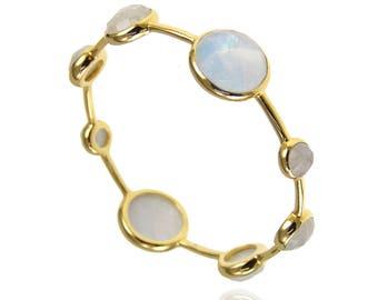 Moonstone Bangle, Stackable Bangle, Rainbow White Bangle, Natural Gemstone Bracelet, Gold Bangle, Birthstone Bracelet, Mothers Gift