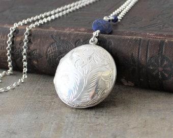 Large Silver Locket Necklace, Sapphire Locket, Round Locket, Sterling Silver Locket, Photo Locket, September Birthstone Locket, Push Present