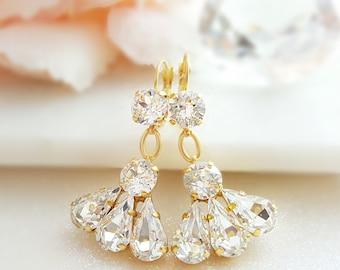 Long Dangle Earrings Gold - Swarovski Crystal Drop - Tear Drop Crystal Bridal Statement - Rhinestone Cluster - Big Teardrop Chandelier E3392