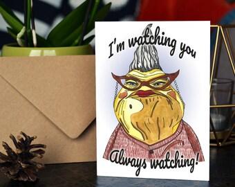 Handmade Roz / Monsters Inc Greetings Card