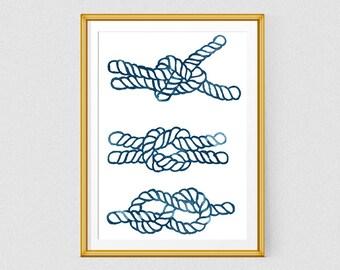 Rope knots, Watercolor art print, Printable art, Blue, Watercolor giclee print, Nautical art, Sailor art poster, Sea art