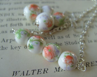 Rustic, Romantic, orange,peach and white, necklace and earrings set,porcelain beads, ceraimic, by NewellsJewels on etsy