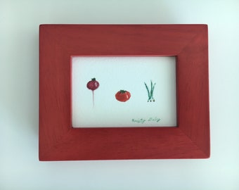 Kitchen Vegetables Watercolor - Miniature Giclee Print