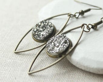 Grey Druzy earrings, Druzy dangle earrings, antique brass drop, pierced or screw back clips, silver or brass, faux druzy lightweight
