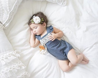 First Birthday Romper Chambray Romper Baby Flutter Sleeve Romper First Birthday Romper Girl Baby Girl Denim Romper Baby Girl First Birthday