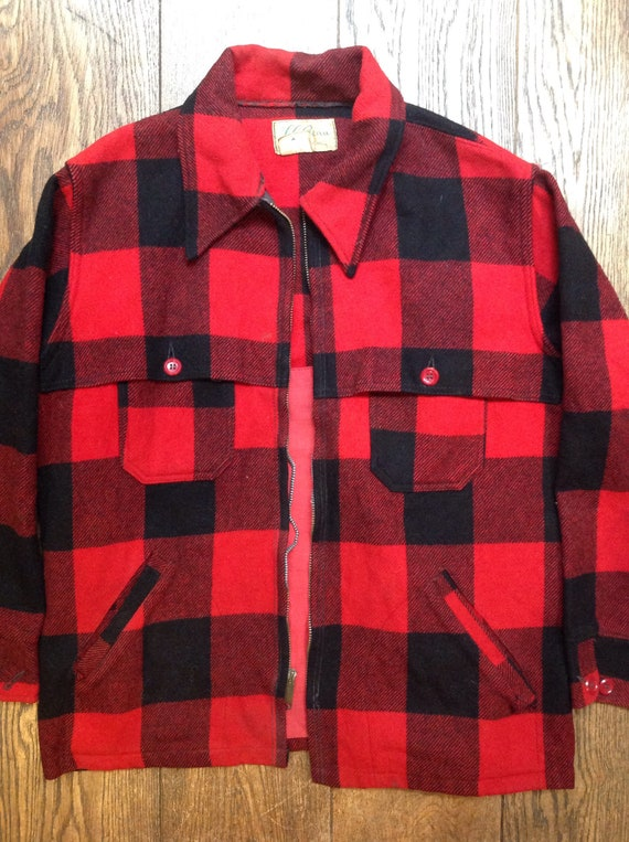 "Vintage 1960s 60s 1970s 70s LL Bean red black checked wool hunting jacket Talon zipper for repair 46"" chest"