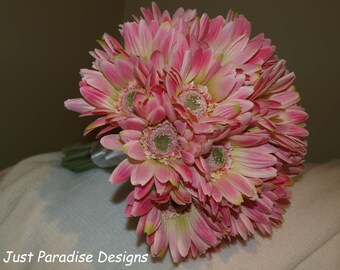 Wedding Bouquet Set -Pink Gerbera - Artificial Flower - 1 x Bride and 3 Maids Posy