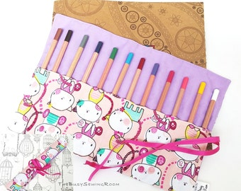 Pencil Roll - Cats on Pink, Pencil Case, Crayon Roll, Gift, Pen Storage, Artist, School, College, University, Stationary