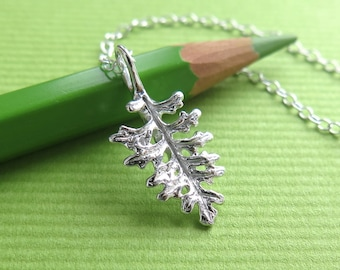 Fern Leaf Lavender Jewelry - Pure Silver Real Leaf Pendant, Herb Jewelry
