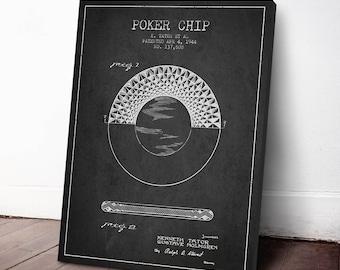 1944 Poker Chip Patent, Poker Chip Canvas Print, Poker Chip Print, Poker Chip Art, Poker Chip Wall Decor, Home Decor, Gift Idea, GT25C