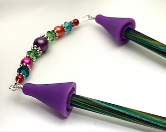 Rainbow Point Protector for Knitting Needles- Beaded Stitch Holder Jewelry- Gift for Knitters