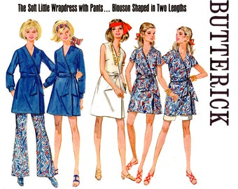 Butterick 5280 Womens Wrap Dress Pants & Shorts 60s Vintage sewing pattern Size 12 Bust 34 Inches