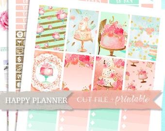 HAPPY PLANNER PRINTABLE Stickers, Happy Planner Sticker Kit, Weekly planner stickers, spring planner stickers, tea party, happy planner