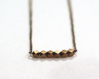 Geometric Antiqued Brass Beaded Necklace on Delicate Bronze Chain