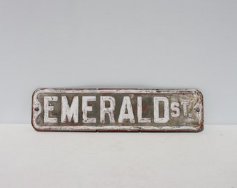 Vintage Metal Road Street Sign Double Sided Embossed EMERALD ST Distressed Road Salvage Red White Industrial Factory Man Cave Garden Decor
