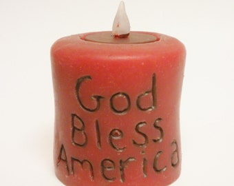 God Bless America Candle, Primitive Americana Candles, Country Farmhouse Decor