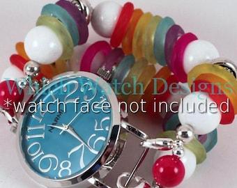 Rainbow Bright.. Rainbow Colored Chunky Interchangeable Beaded Watch Band