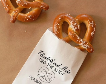 Tied The Knot Pretzel Bags, Hot Pretzel Sacks, Wedding Snack Bags, Bakery Bags, Wedding Favor - Personalized - Lined, Grease Resistant