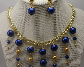 Blue Necklace/Earring Set, Sapphire Blue Pearl Necklace Set, Blue and Gold Jewelry Set, Necklace with Matching Earrings, Chunky Necklace