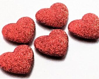 Red Glitter Heart Magnets in Decorative Tin | Set of 5 | Super Strong | Cute Fridge Magnets | Teacher Gift | Heart Magnets | Glitter Magnets